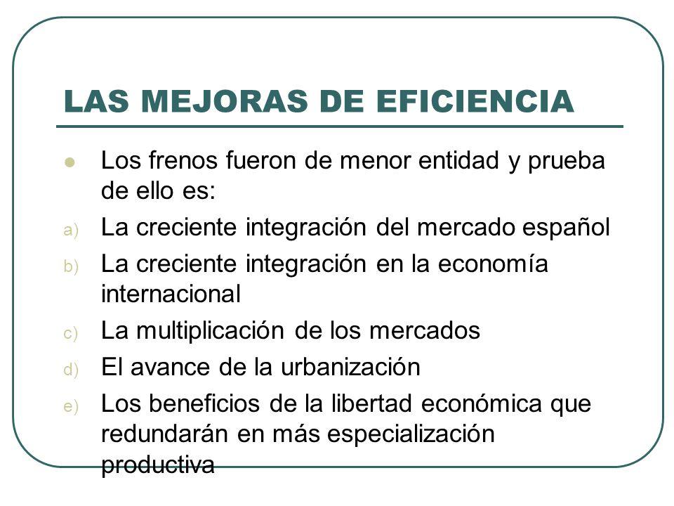 LAS MEJORAS DE EFICIENCIA Los frenos fueron de menor entidad y prueba de ello es: a) La creciente integración del mercado español b) La creciente inte