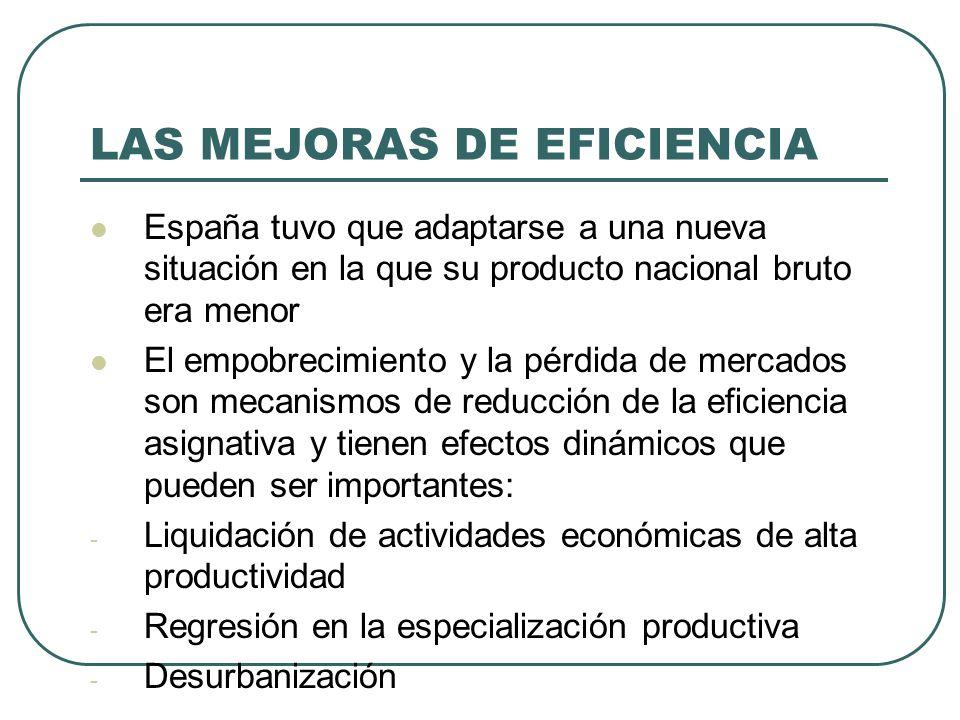 LAS MEJORAS DE EFICIENCIA España tuvo que adaptarse a una nueva situación en la que su producto nacional bruto era menor El empobrecimiento y la pérdi
