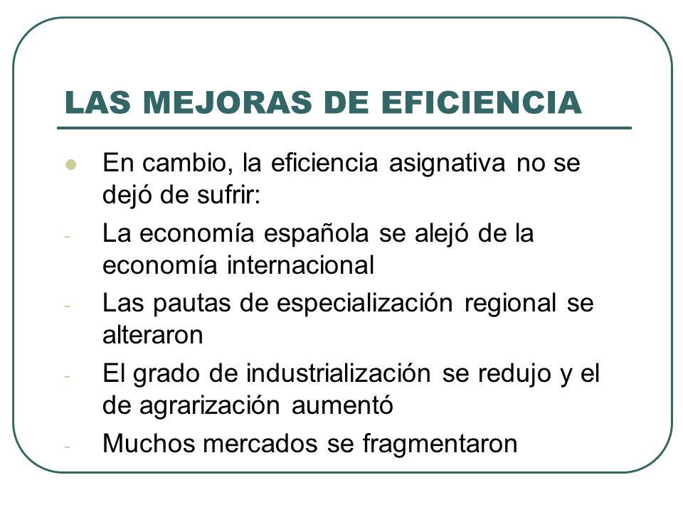 LAS MEJORAS DE EFICIENCIA En cambio, la eficiencia asignativa no se dejó de sufrir: - La economía española se alejó de la economía internacional - Las