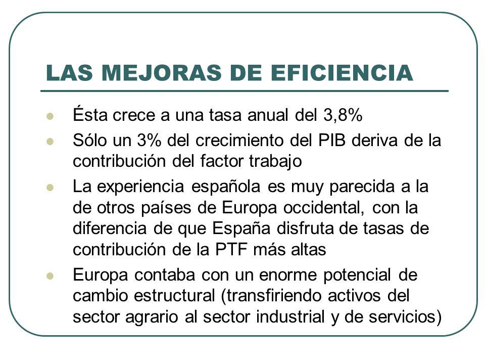 LAS MEJORAS DE EFICIENCIA Ésta crece a una tasa anual del 3,8% Sólo un 3% del crecimiento del PIB deriva de la contribución del factor trabajo La expe