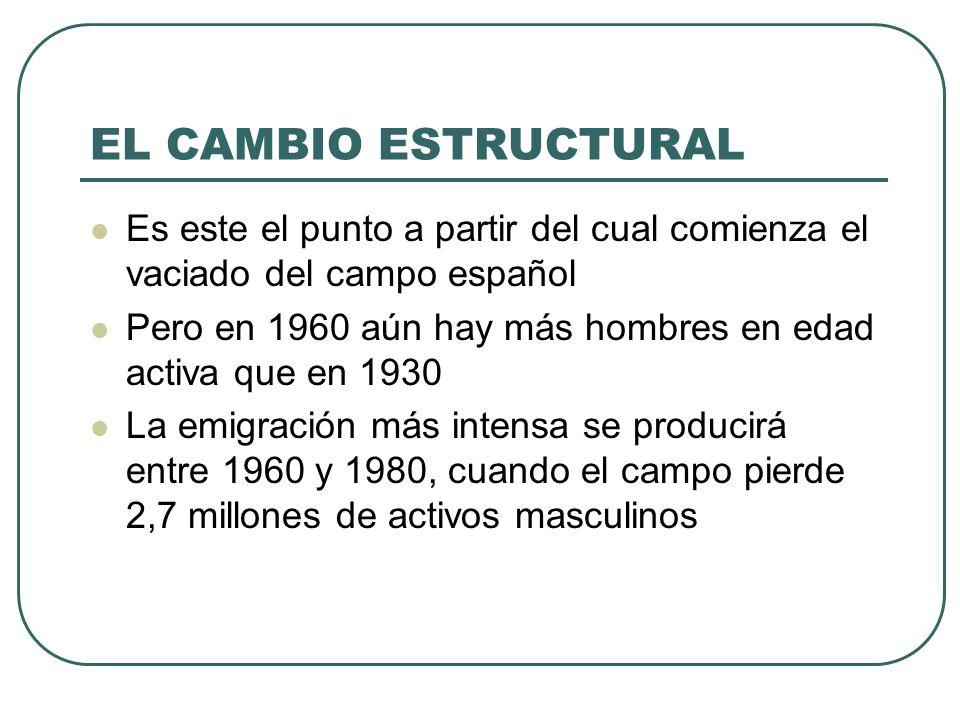 EL CAMBIO ESTRUCTURAL Es este el punto a partir del cual comienza el vaciado del campo español Pero en 1960 aún hay más hombres en edad activa que en