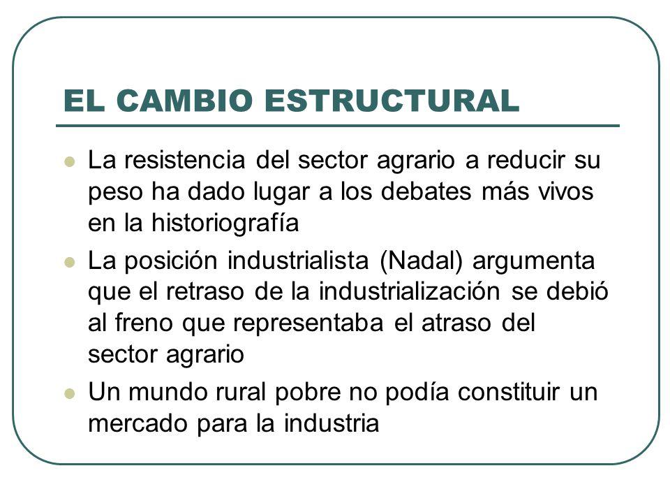 EL CAMBIO ESTRUCTURAL La resistencia del sector agrario a reducir su peso ha dado lugar a los debates más vivos en la historiografía La posición indus