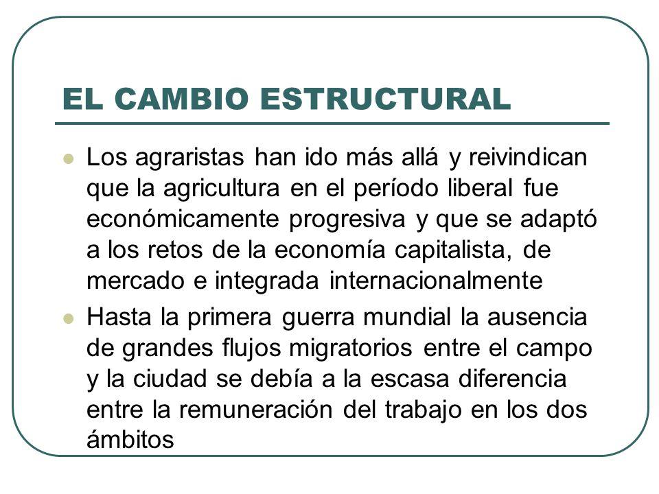 EL CAMBIO ESTRUCTURAL Los agraristas han ido más allá y reivindican que la agricultura en el período liberal fue económicamente progresiva y que se ad