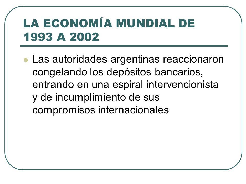 LA ECONOMÍA MUNDIAL DE 1993 A 2002 Las autoridades argentinas reaccionaron congelando los depósitos bancarios, entrando en una espiral intervencionist