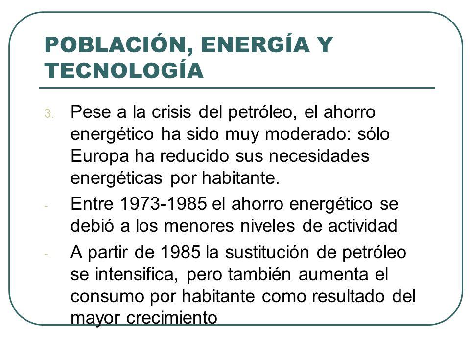 POBLACIÓN, ENERGÍA Y TECNOLOGÍA 3. Pese a la crisis del petróleo, el ahorro energético ha sido muy moderado: sólo Europa ha reducido sus necesidades e