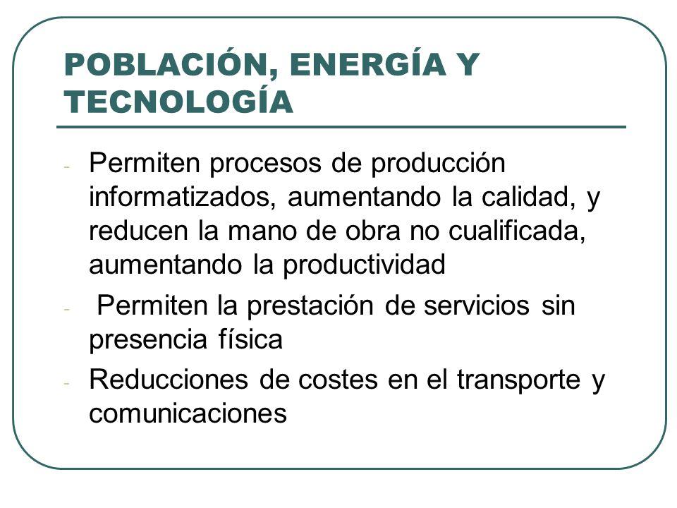 POBLACIÓN, ENERGÍA Y TECNOLOGÍA - Permiten procesos de producción informatizados, aumentando la calidad, y reducen la mano de obra no cualificada, aum