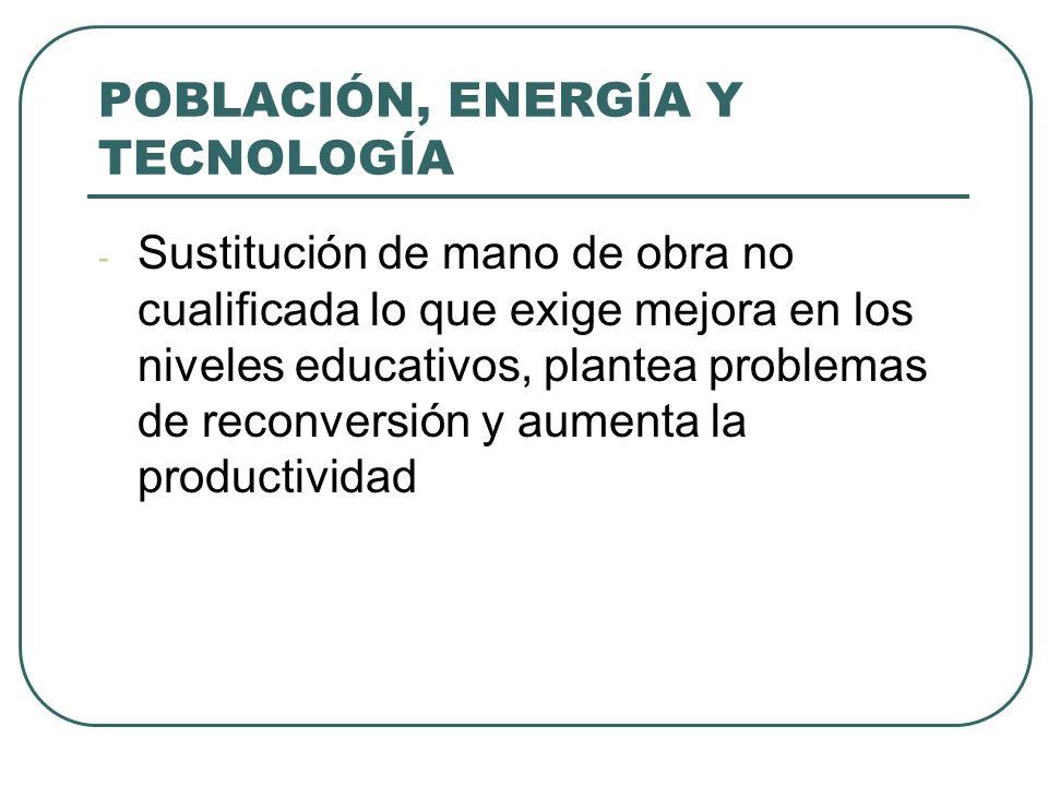 POBLACIÓN, ENERGÍA Y TECNOLOGÍA - Sustitución de mano de obra no cualificada lo que exige mejora en los niveles educativos, plantea problemas de recon