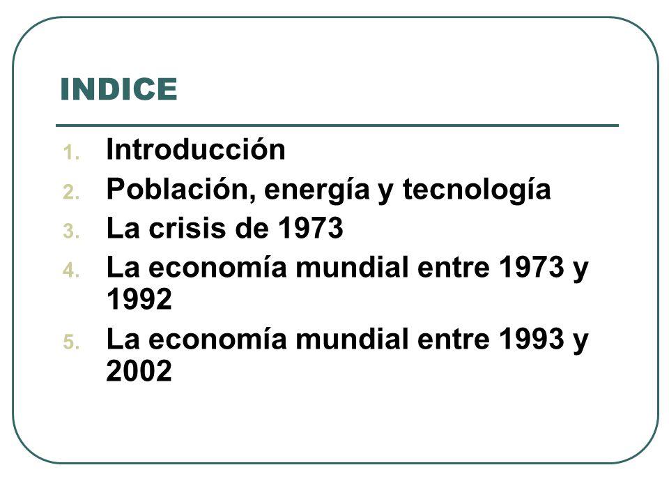 INDICE 1. Introducción 2. Población, energía y tecnología 3. La crisis de 1973 4. La economía mundial entre 1973 y 1992 5. La economía mundial entre 1