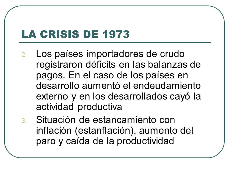 LA CRISIS DE 1973 2. Los países importadores de crudo registraron déficits en las balanzas de pagos. En el caso de los países en desarrollo aumentó el