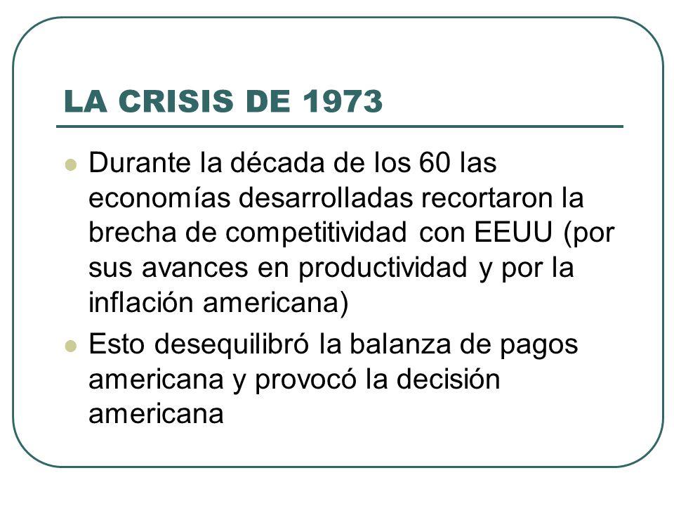 LA CRISIS DE 1973 Durante la década de los 60 las economías desarrolladas recortaron la brecha de competitividad con EEUU (por sus avances en producti