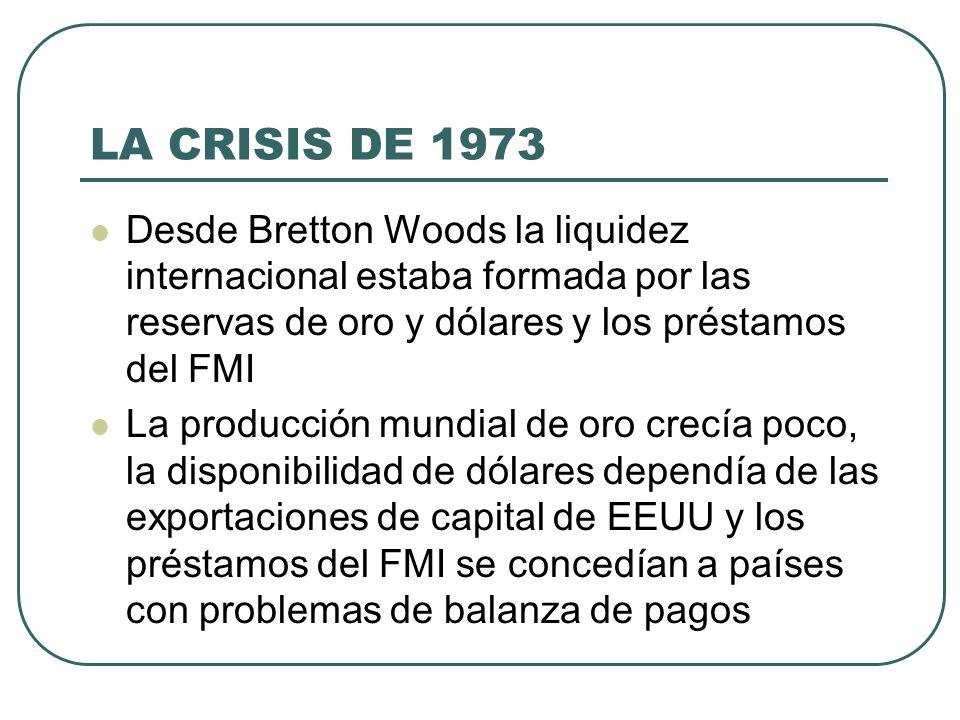LA CRISIS DE 1973 Desde Bretton Woods la liquidez internacional estaba formada por las reservas de oro y dólares y los préstamos del FMI La producción
