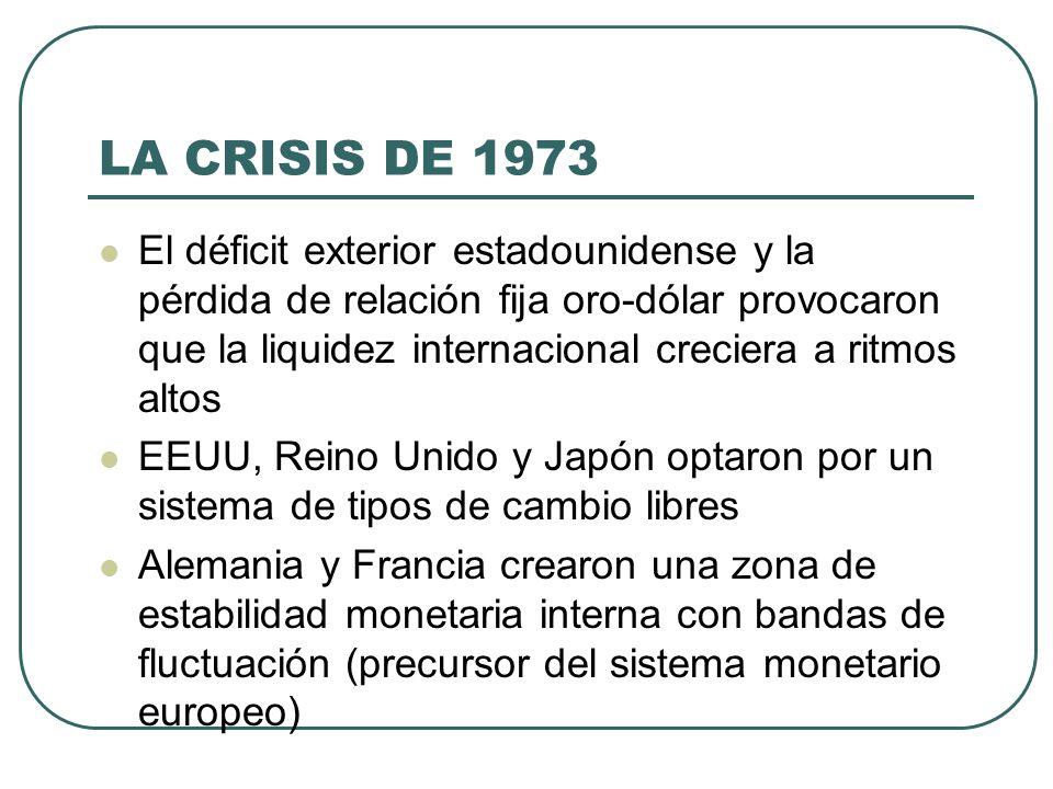 LA CRISIS DE 1973 El déficit exterior estadounidense y la pérdida de relación fija oro-dólar provocaron que la liquidez internacional creciera a ritmo
