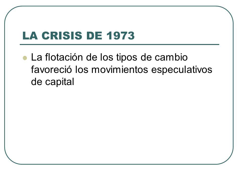 LA CRISIS DE 1973 La flotación de los tipos de cambio favoreció los movimientos especulativos de capital
