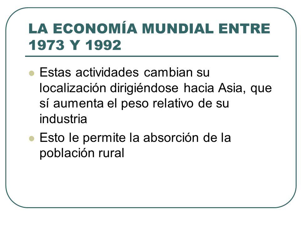 LA ECONOMÍA MUNDIAL ENTRE 1973 Y 1992 Estas actividades cambian su localización dirigiéndose hacia Asia, que sí aumenta el peso relativo de su industr