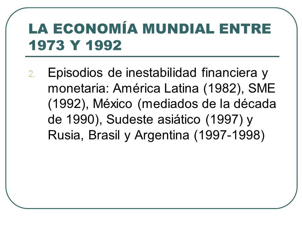 LA ECONOMÍA MUNDIAL ENTRE 1973 Y 1992 2. Episodios de inestabilidad financiera y monetaria: América Latina (1982), SME (1992), México (mediados de la