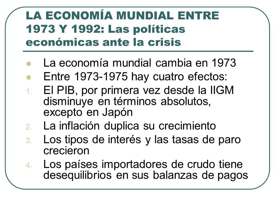 LA ECONOMÍA MUNDIAL ENTRE 1973 Y 1992: Las políticas económicas ante la crisis La economía mundial cambia en 1973 Entre 1973-1975 hay cuatro efectos: