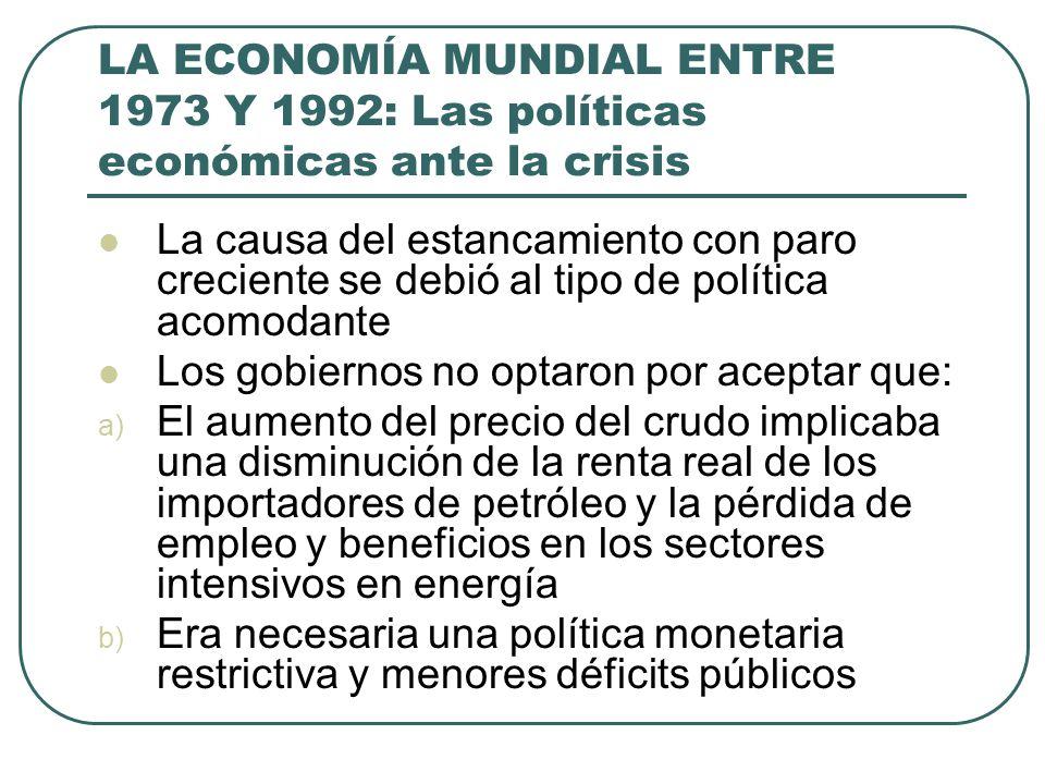 LA ECONOMÍA MUNDIAL ENTRE 1973 Y 1992: Las políticas económicas ante la crisis La causa del estancamiento con paro creciente se debió al tipo de polít