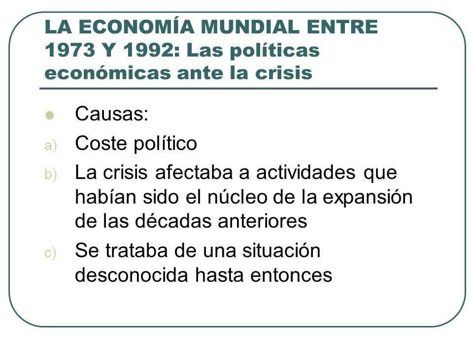 LA ECONOMÍA MUNDIAL ENTRE 1973 Y 1992: Las políticas económicas ante la crisis Causas: a) Coste político b) La crisis afectaba a actividades que había