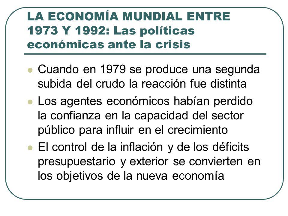 LA ECONOMÍA MUNDIAL ENTRE 1973 Y 1992: Las políticas económicas ante la crisis Cuando en 1979 se produce una segunda subida del crudo la reacción fue