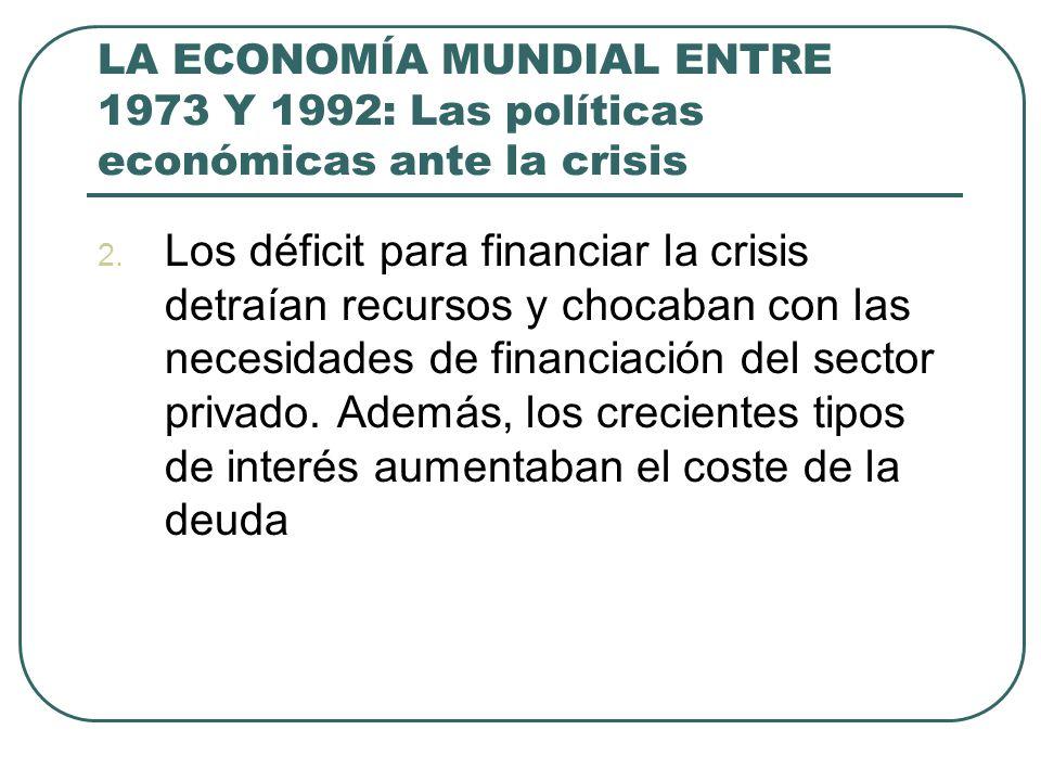 LA ECONOMÍA MUNDIAL ENTRE 1973 Y 1992: Las políticas económicas ante la crisis 2. Los déficit para financiar la crisis detraían recursos y chocaban co