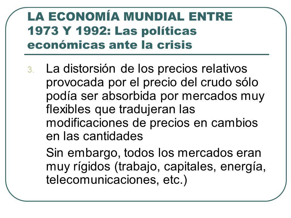 LA ECONOMÍA MUNDIAL ENTRE 1973 Y 1992: Las políticas económicas ante la crisis 3. La distorsión de los precios relativos provocada por el precio del c