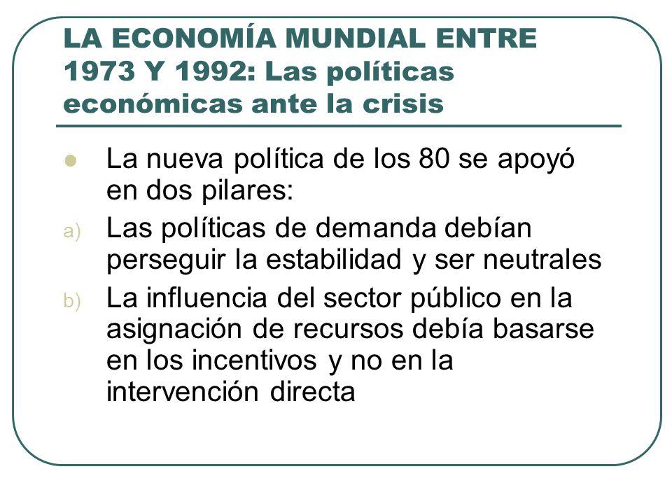 LA ECONOMÍA MUNDIAL ENTRE 1973 Y 1992: Las políticas económicas ante la crisis La nueva política de los 80 se apoyó en dos pilares: a) Las políticas d