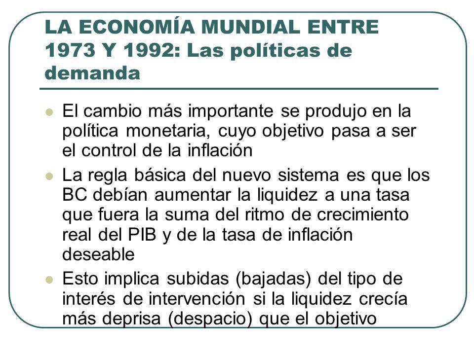 LA ECONOMÍA MUNDIAL ENTRE 1973 Y 1992: Las políticas de demanda El cambio más importante se produjo en la política monetaria, cuyo objetivo pasa a ser