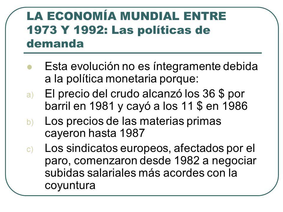 LA ECONOMÍA MUNDIAL ENTRE 1973 Y 1992: Las políticas de demanda Esta evolución no es íntegramente debida a la política monetaria porque: a) El precio
