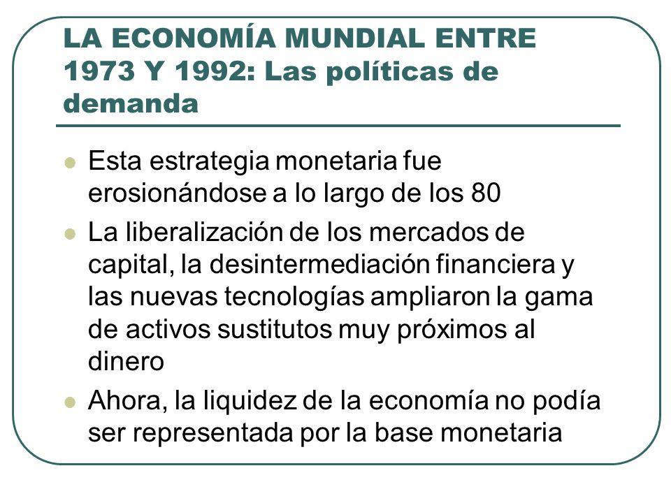 LA ECONOMÍA MUNDIAL ENTRE 1973 Y 1992: Las políticas de demanda Esta estrategia monetaria fue erosionándose a lo largo de los 80 La liberalización de