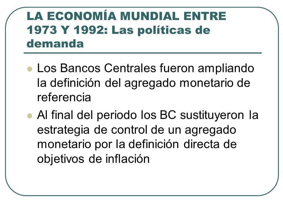 LA ECONOMÍA MUNDIAL ENTRE 1973 Y 1992: Las políticas de demanda Los Bancos Centrales fueron ampliando la definición del agregado monetario de referenc