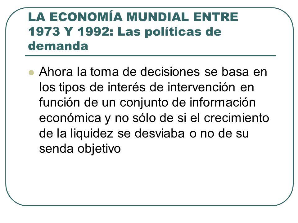 LA ECONOMÍA MUNDIAL ENTRE 1973 Y 1992: Las políticas de demanda Ahora la toma de decisiones se basa en los tipos de interés de intervención en función