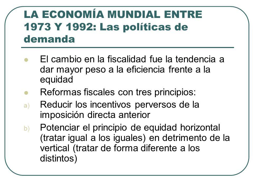 LA ECONOMÍA MUNDIAL ENTRE 1973 Y 1992: Las políticas de demanda El cambio en la fiscalidad fue la tendencia a dar mayor peso a la eficiencia frente a