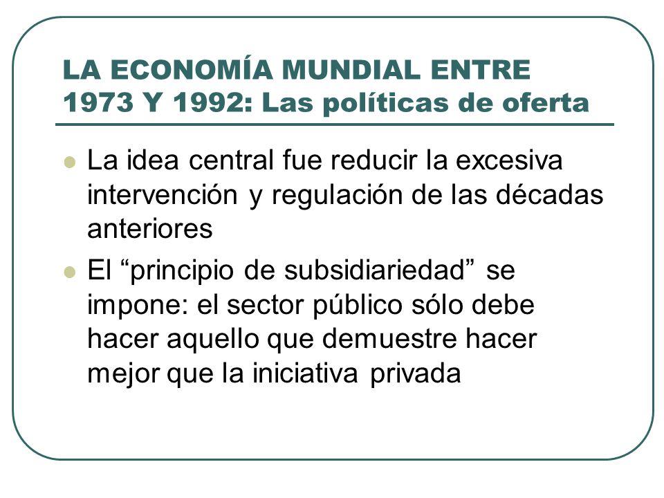 LA ECONOMÍA MUNDIAL ENTRE 1973 Y 1992: Las políticas de oferta La idea central fue reducir la excesiva intervención y regulación de las décadas anteri