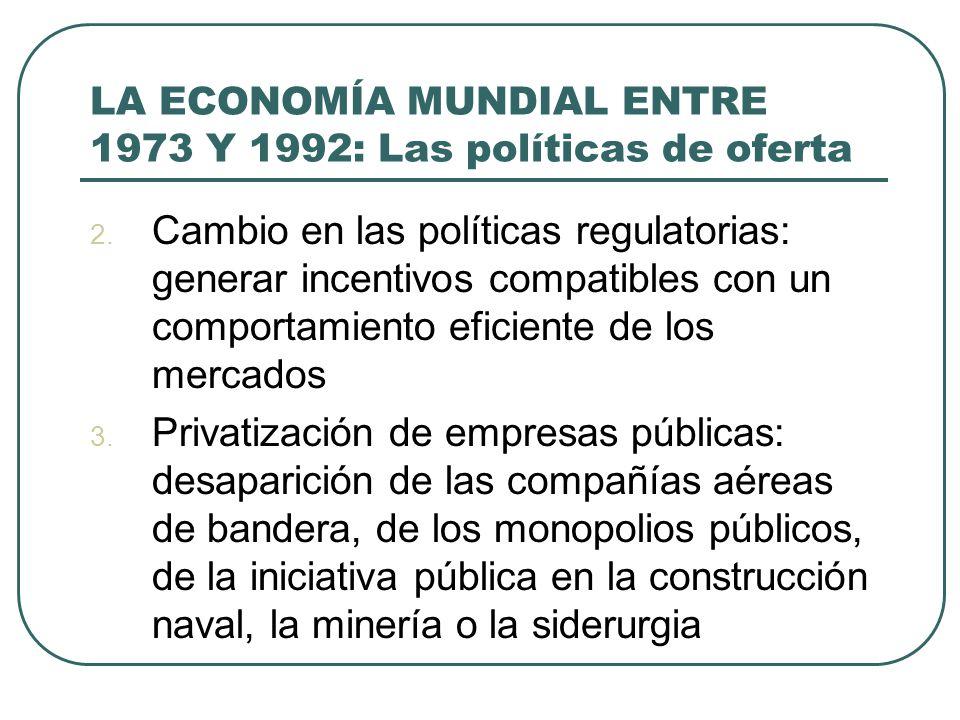 LA ECONOMÍA MUNDIAL ENTRE 1973 Y 1992: Las políticas de oferta 2. Cambio en las políticas regulatorias: generar incentivos compatibles con un comporta
