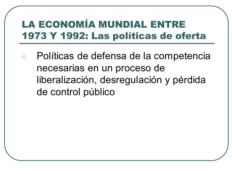 LA ECONOMÍA MUNDIAL ENTRE 1973 Y 1992: Las políticas de oferta 4. Políticas de defensa de la competencia necesarias en un proceso de liberalización, d