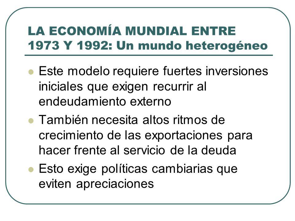 LA ECONOMÍA MUNDIAL ENTRE 1973 Y 1992: Un mundo heterogéneo Este modelo requiere fuertes inversiones iniciales que exigen recurrir al endeudamiento ex