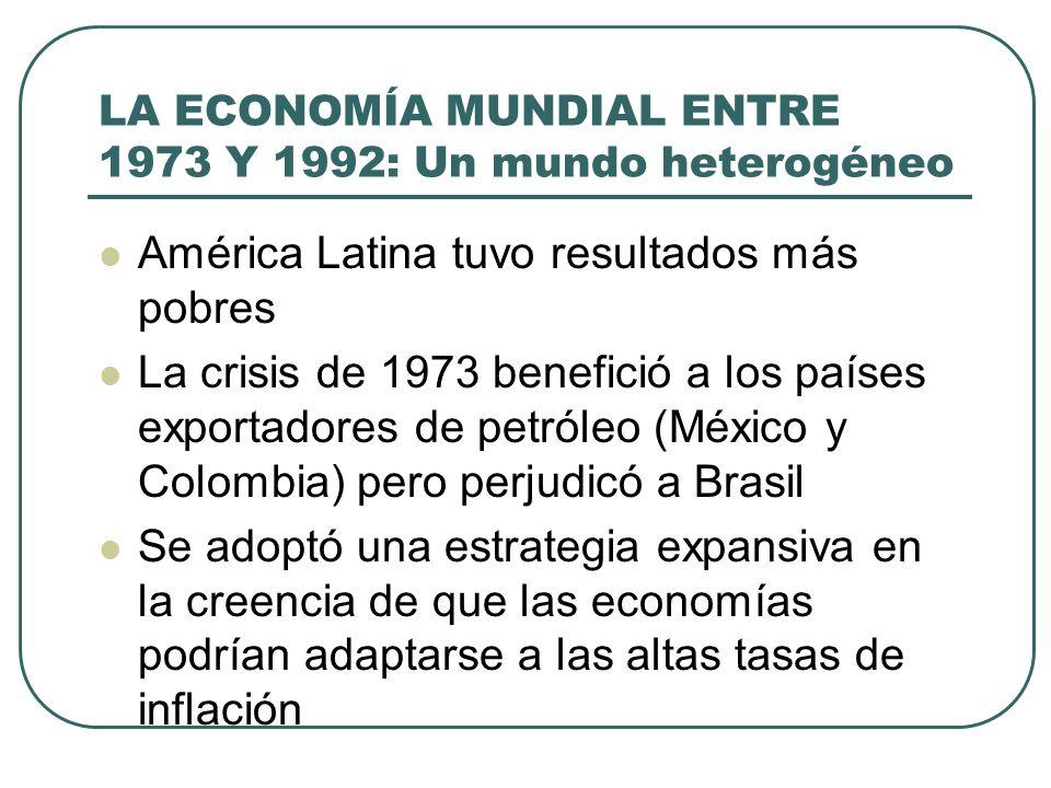 LA ECONOMÍA MUNDIAL ENTRE 1973 Y 1992: Un mundo heterogéneo América Latina tuvo resultados más pobres La crisis de 1973 benefició a los países exporta