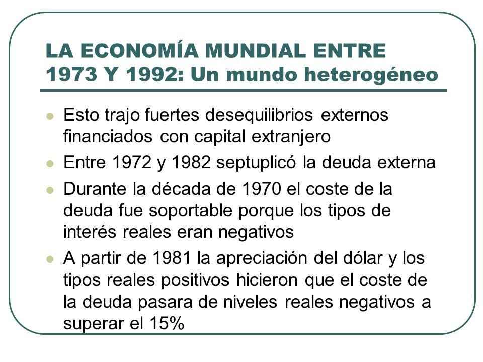 LA ECONOMÍA MUNDIAL ENTRE 1973 Y 1992: Un mundo heterogéneo Esto trajo fuertes desequilibrios externos financiados con capital extranjero Entre 1972 y