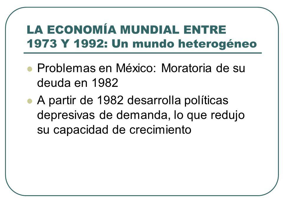 LA ECONOMÍA MUNDIAL ENTRE 1973 Y 1992: Un mundo heterogéneo Problemas en México: Moratoria de su deuda en 1982 A partir de 1982 desarrolla políticas d