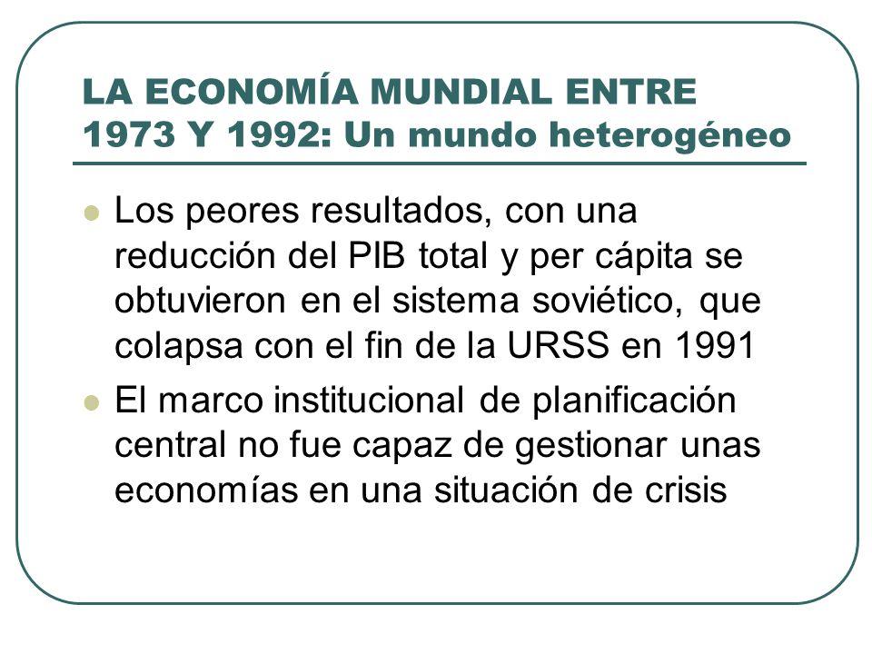 LA ECONOMÍA MUNDIAL ENTRE 1973 Y 1992: Un mundo heterogéneo Los peores resultados, con una reducción del PIB total y per cápita se obtuvieron en el si