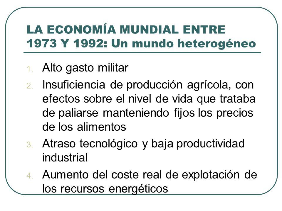 LA ECONOMÍA MUNDIAL ENTRE 1973 Y 1992: Un mundo heterogéneo 1. Alto gasto militar 2. Insuficiencia de producción agrícola, con efectos sobre el nivel