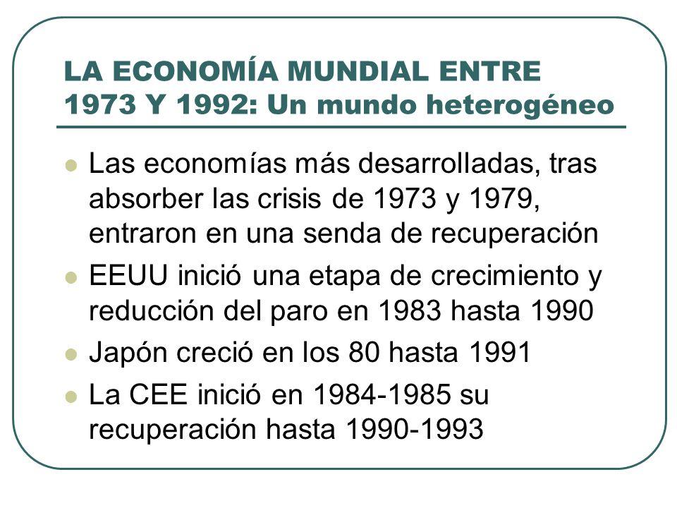 LA ECONOMÍA MUNDIAL ENTRE 1973 Y 1992: Un mundo heterogéneo Las economías más desarrolladas, tras absorber las crisis de 1973 y 1979, entraron en una