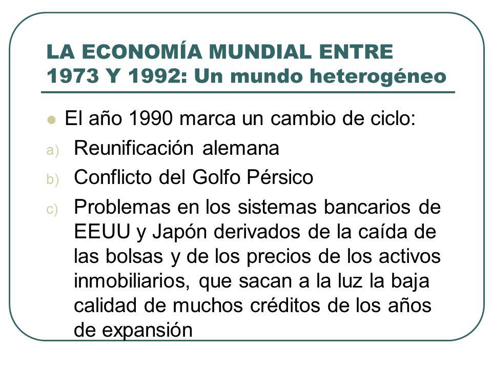 LA ECONOMÍA MUNDIAL ENTRE 1973 Y 1992: Un mundo heterogéneo El año 1990 marca un cambio de ciclo: a) Reunificación alemana b) Conflicto del Golfo Pérs