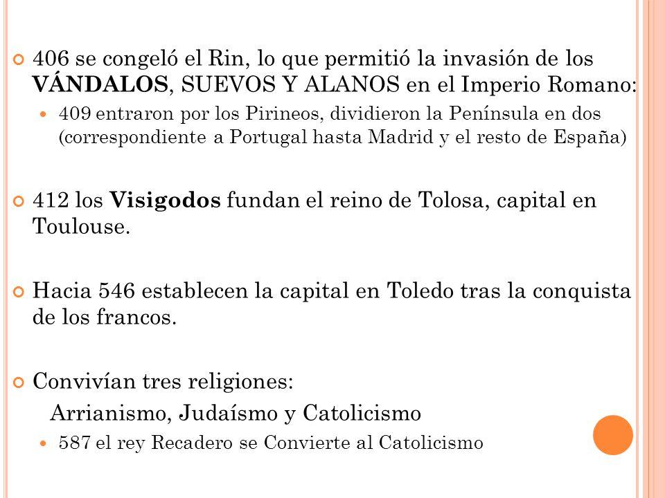 406 se congeló el Rin, lo que permitió la invasión de los VÁNDALOS, SUEVOS Y ALANOS en el Imperio Romano: 409 entraron por los Pirineos, dividieron la Península en dos (correspondiente a Portugal hasta Madrid y el resto de España) 412 los Visigodos fundan el reino de Tolosa, capital en Toulouse.