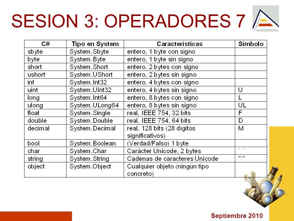 Septiembre 2010 SESION 3: OPERADORES 7