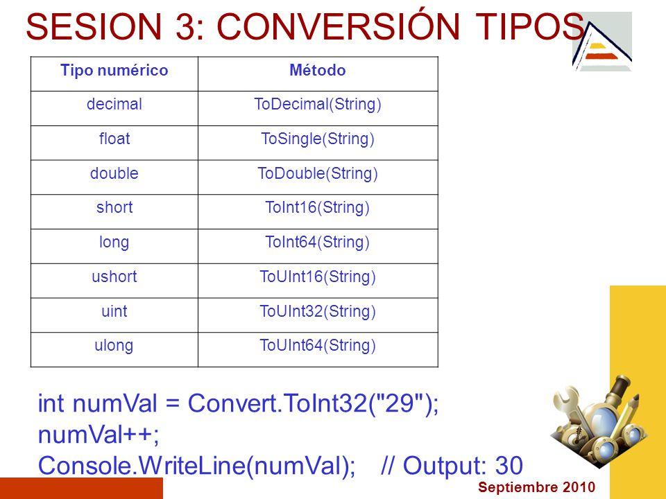 Septiembre 2010 SESION 3: CONVERSIÓN TIPOS Tipo numéricoMétodo decimalToDecimal(String) floatToSingle(String) doubleToDouble(String) shortToInt16(String) longToInt64(String) ushortToUInt16(String) uintToUInt32(String) ulongToUInt64(String) int numVal = Convert.ToInt32( 29 ); numVal++; Console.WriteLine(numVal); // Output: 30