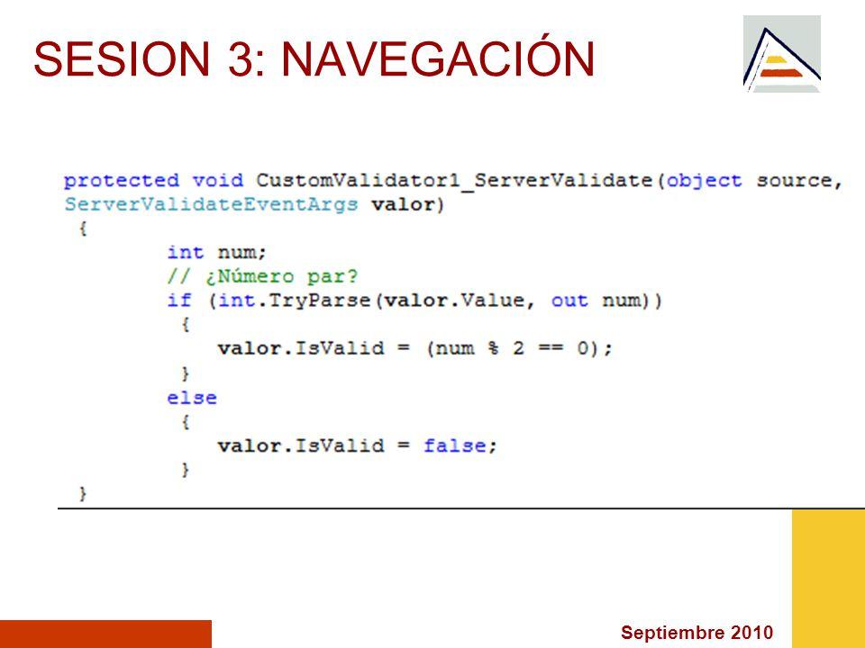 Septiembre 2010 SESION 3: NAVEGACIÓN
