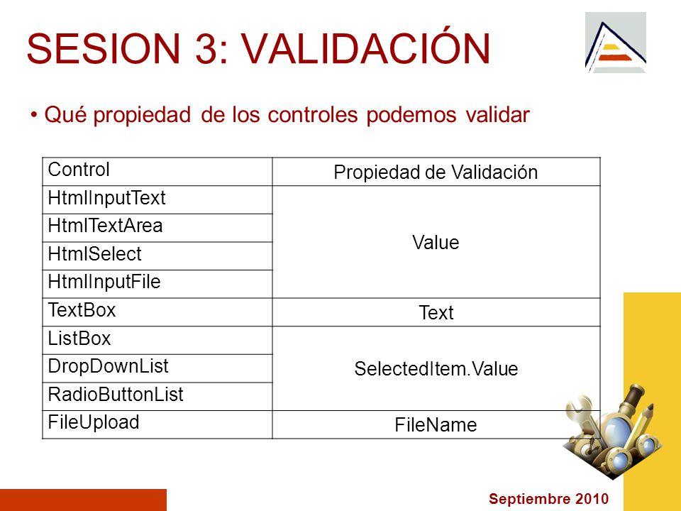 Septiembre 2010 SESION 3: VALIDACIÓN Qué propiedad de los controles podemos validar Control Propiedad de Validación HtmlInputText Value HtmlTextArea HtmlSelect HtmlInputFile TextBox Text ListBox SelectedItem.Value DropDownList RadioButtonList FileUpload FileName