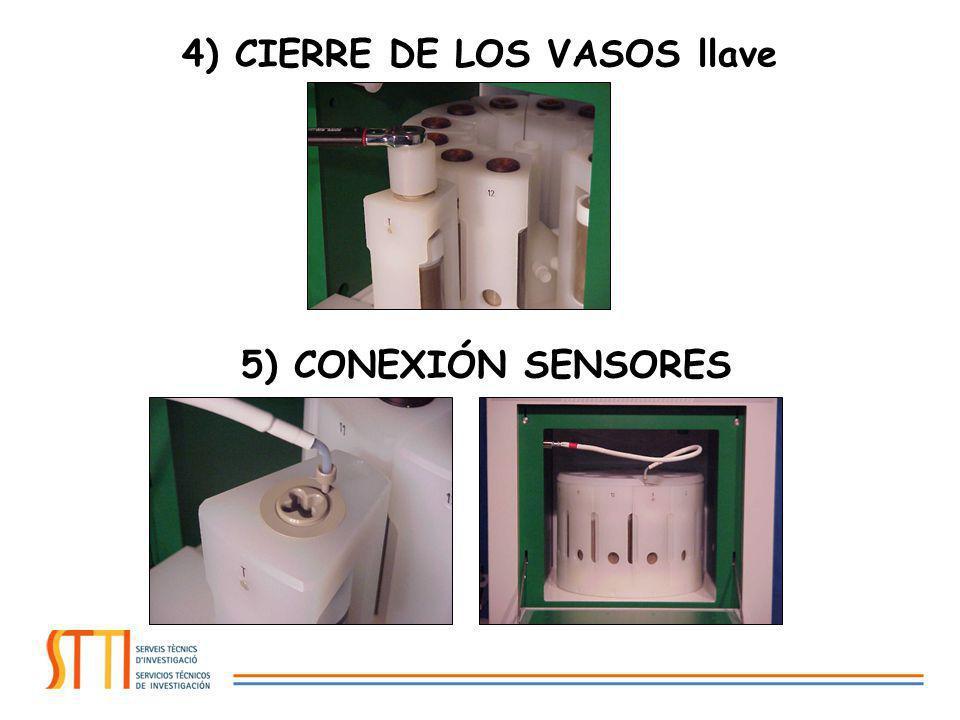 4) CIERRE DE LOS VASOS llave 5) CONEXIÓN SENSORES