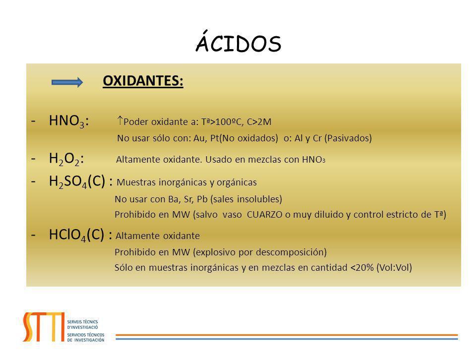NO OXIDANTES: -HF : Disuelve fácilmente todos los SILICATOS No usar con volátiles: As, Sb, B, Se, Hg y Cr Ha de ser eliminado tras la digestión -HCl : Muestras inorgánicas, algún silicato Interferencias con As y V (MS) No usar con Ag, Hg y Pb (sales insolubles) MEZCLAS: -Agua regia: (1 HNO 3 : 3 HCl) Metales, aleaciones, aceros, metales preciosos.